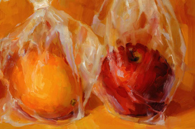 First Place, Two Dimensional Work, 2008 ~ Apples in Plastic by Victoria Mimiaga